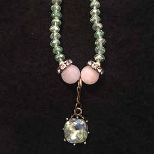 Soft Pink and Green Beaded Necklace